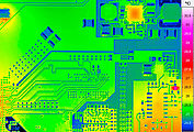 Micro-thermography of an electronics-board