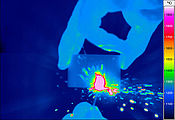 Thermal image of igniting a match
