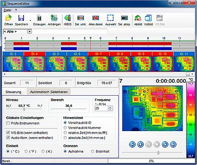Thermografie Software Sequenz-Editor