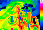 thermal imaging of a diesel engine