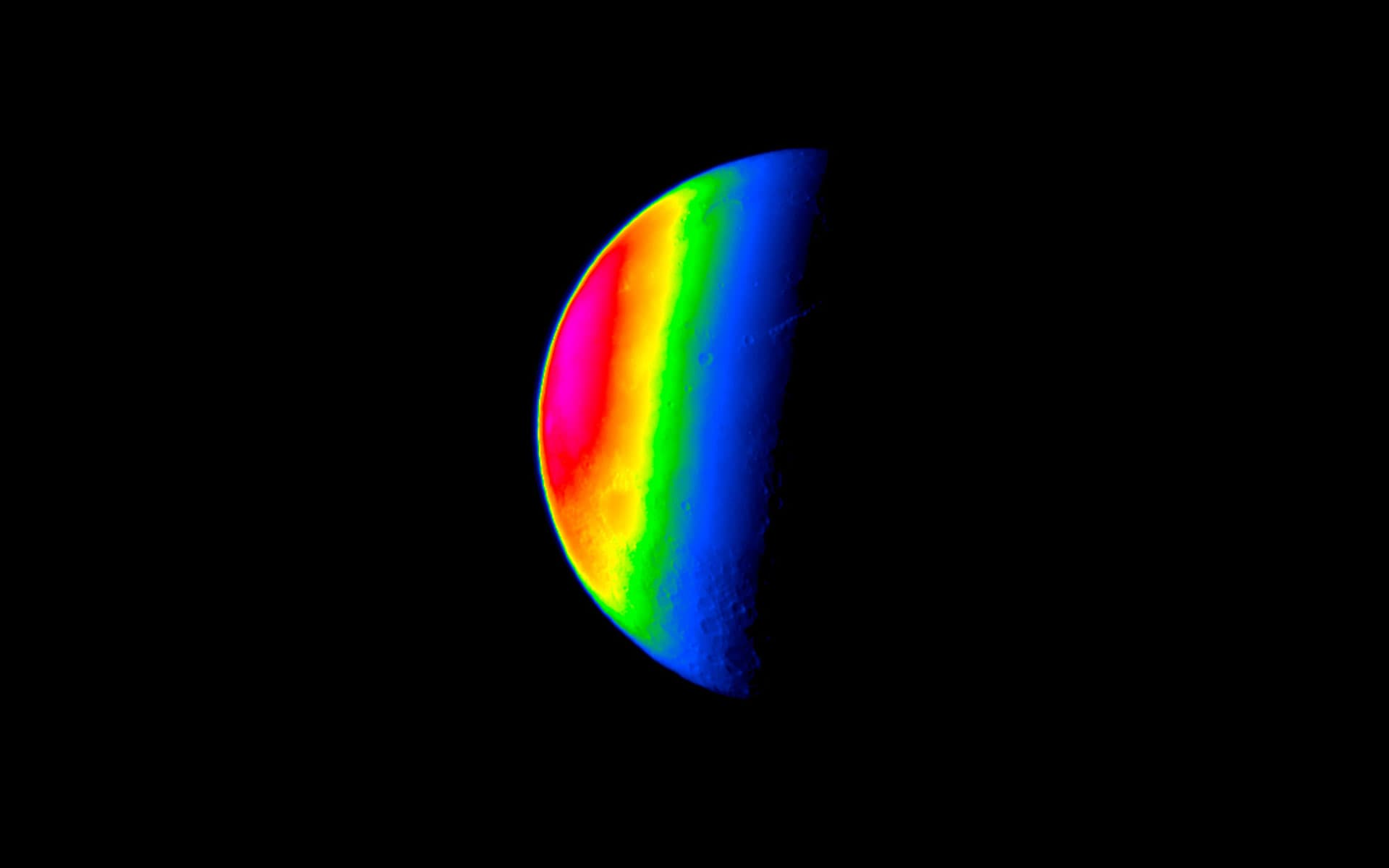 Thermal Image of the Moon at Winter Solstice