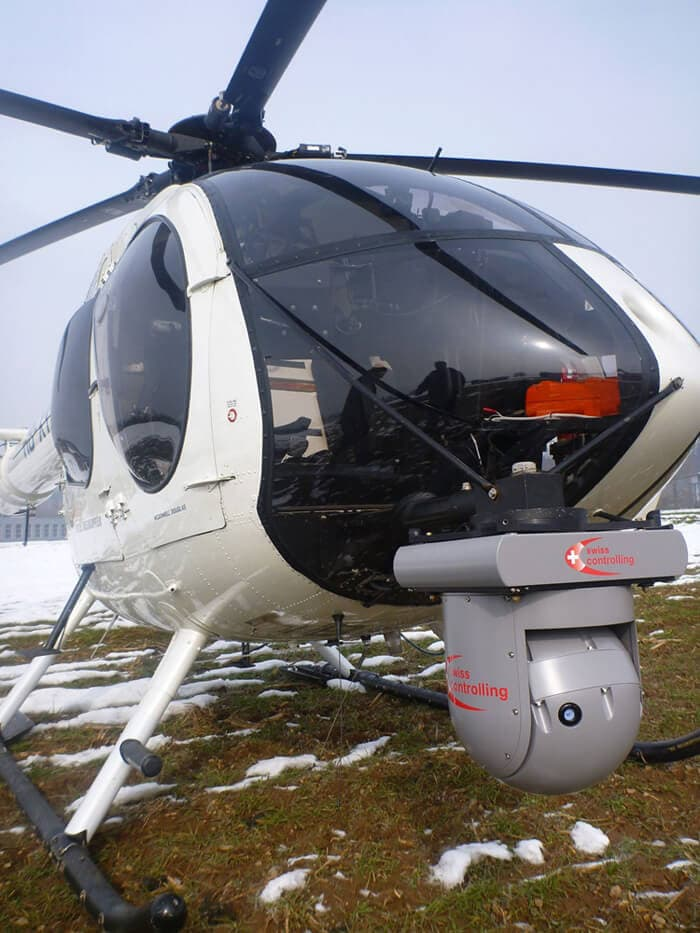 Helicopter with ImageIR® Gimbal from InfraTec
