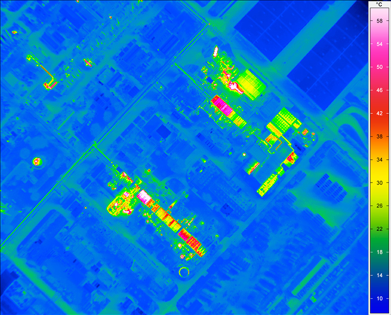 Aviation based, high resolution thermographic image of an industrial area