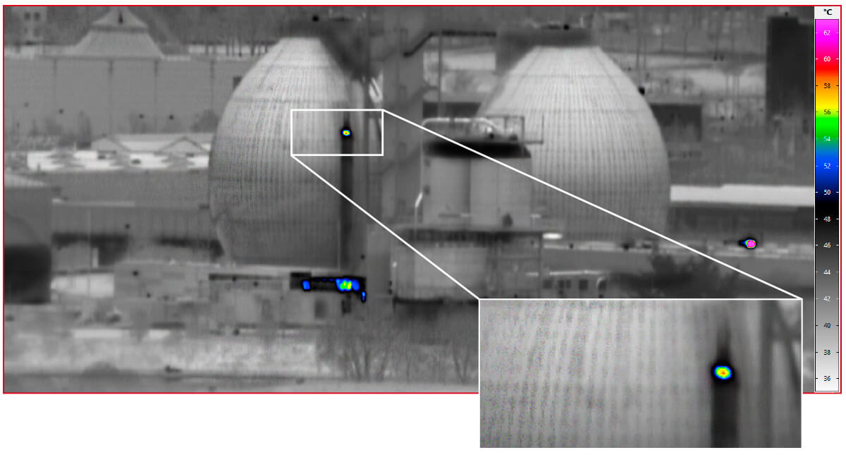 Thermal image of sewage treatment plant