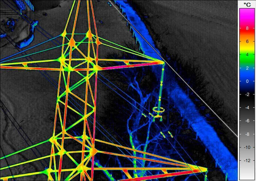 Aerial thermography - high voltage pylon