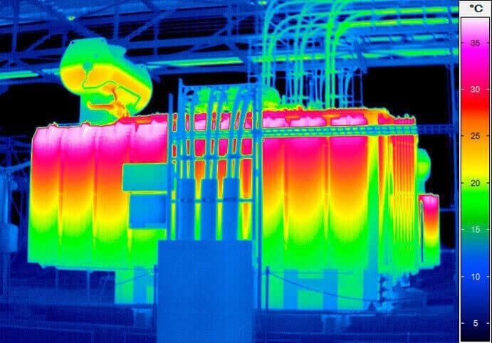 Thermography of a transformer