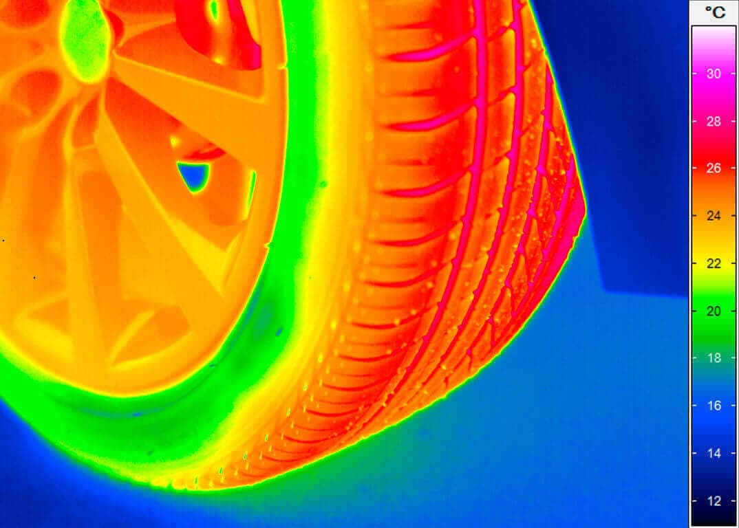 Thermography of a tire