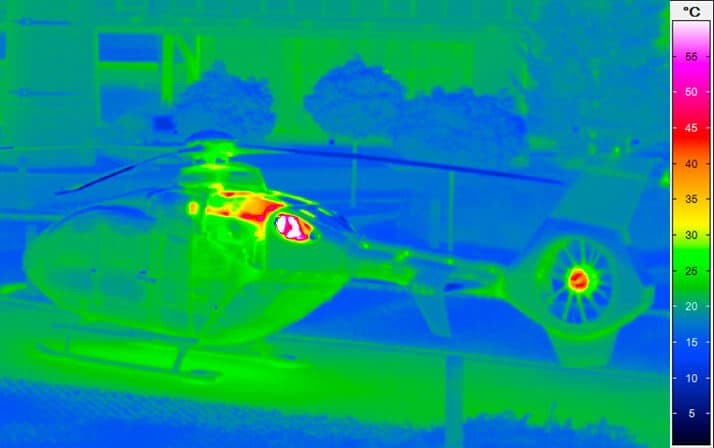 thermal imaging of a helicopter