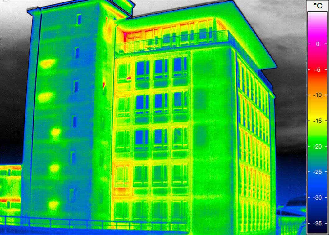 Thermal image of a Multi-storey building