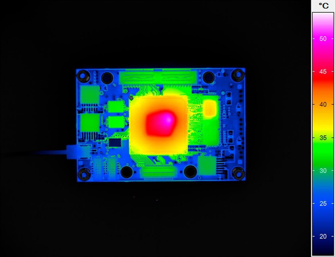 Infrared image of a microcontroller board