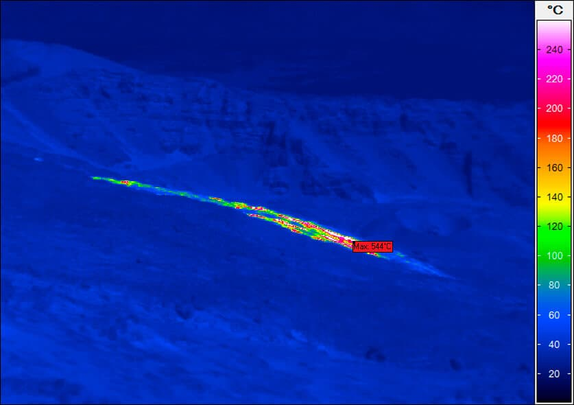 thermal imaging of a lava flow