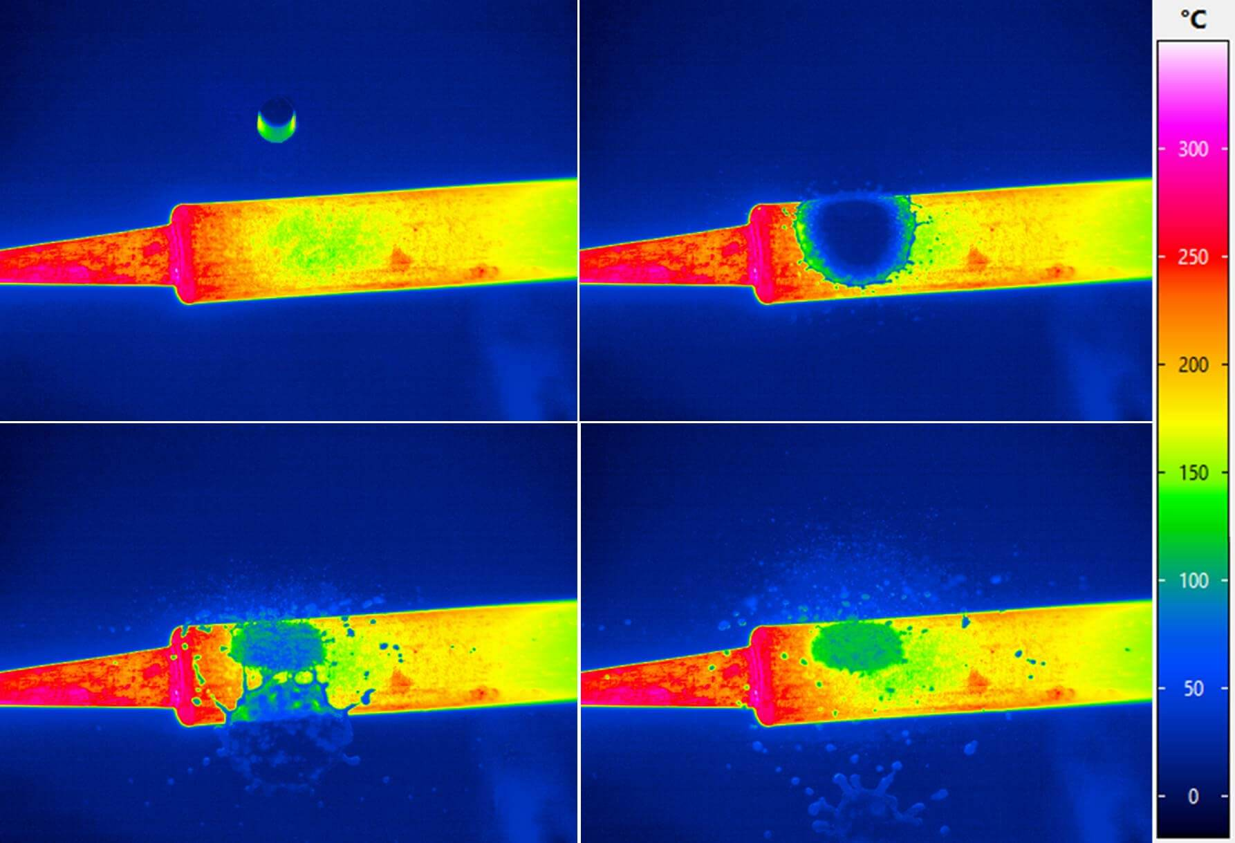 Thermographic image of a soldering iron when a drop of water strikes
