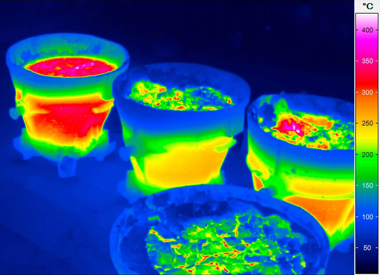 Thermal image of pans