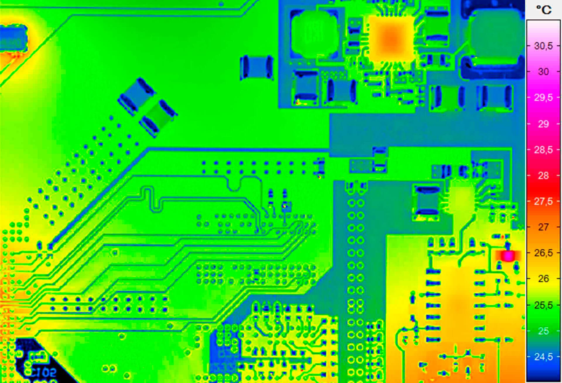 Microthermography of an electronics-board