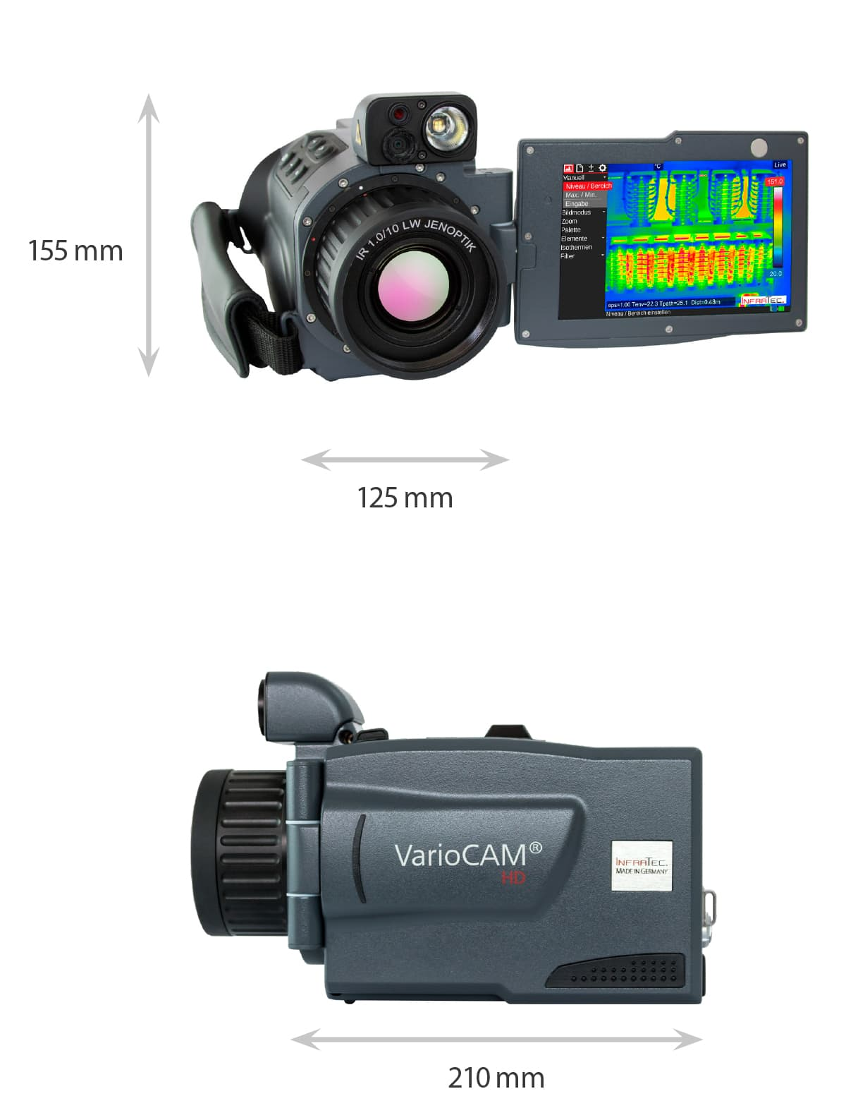 Dimensions of the VarioCAM HDx