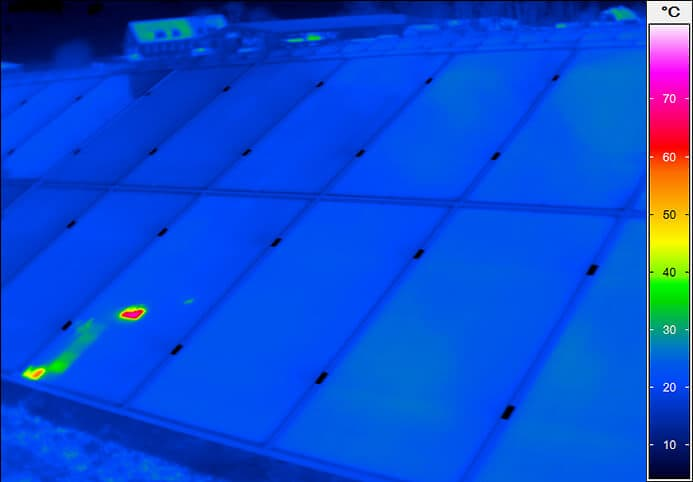 Thermal image of a solar field