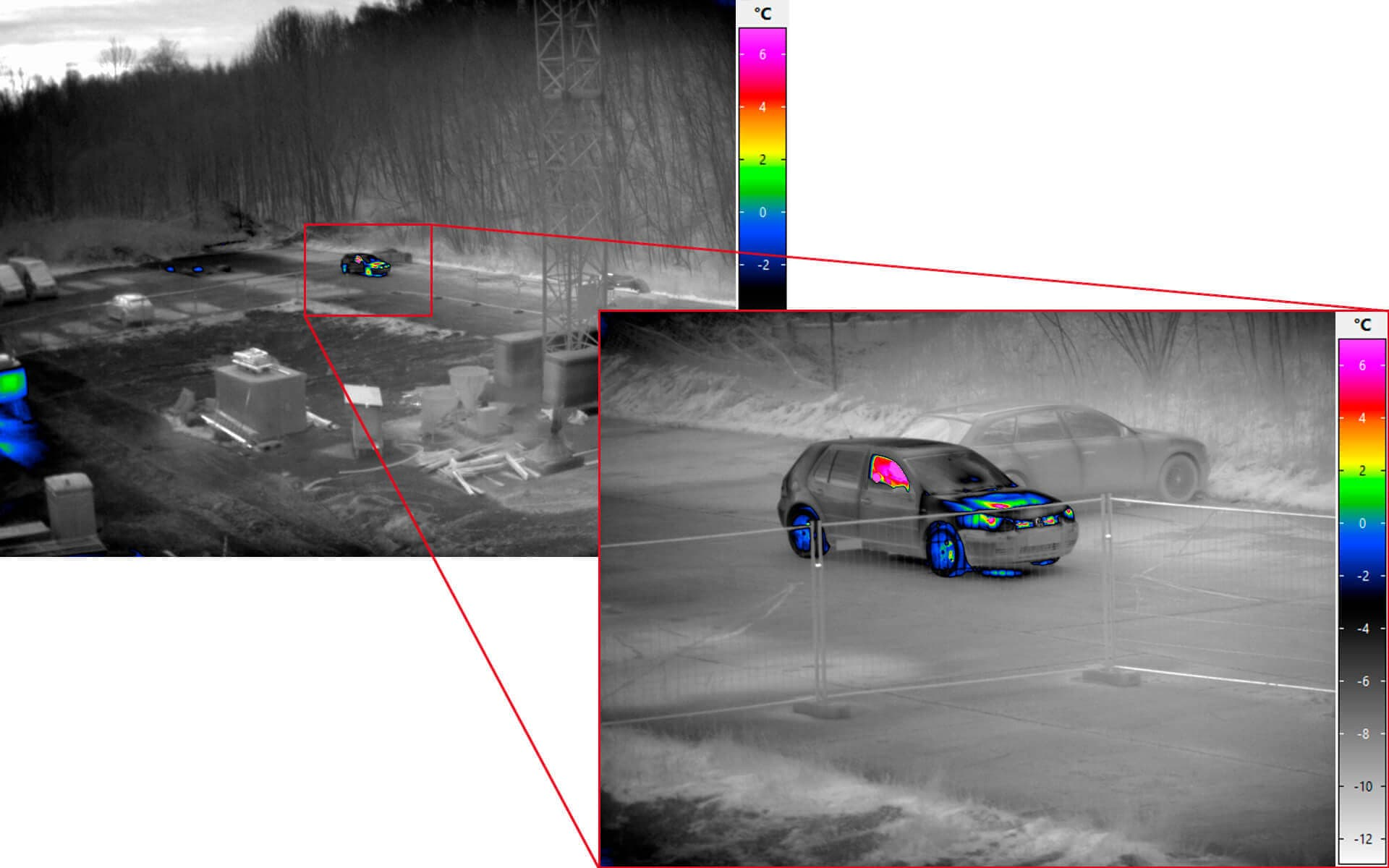 Infrared camera VarioCAM® HD Z security - Zoom of car
